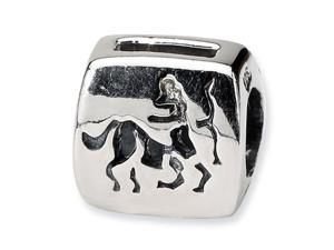 Sterling Silver Sagittarius Zodiac Archer Antiqued Bead
