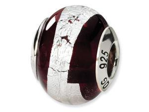 925 Silver Brown Italian Murano Glass Stripe Charm Bead