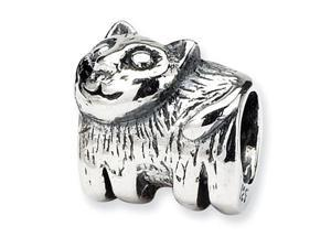 """925 Sterling Silver 1/4"""" Kids Child Charm Cat Bead"""