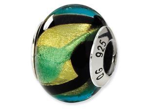 925 Silver Green Blue Black Yellow Murano Glass Bead
