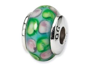 """925 Silver 1/4"""" Light Blue Green Pink Glass Kids Bead"""