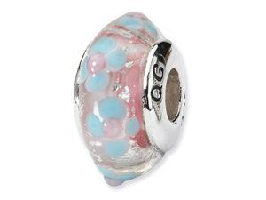 925 Silver Pink Blue Flower Hand Blown Glass Charm Bead