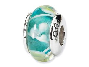 "925 Silver 1/4"" Flower Aqua Blue Hand Blown Glass Bead"