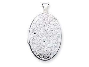 925 Sterling Silver Oval Flora Locket Charm Pendant