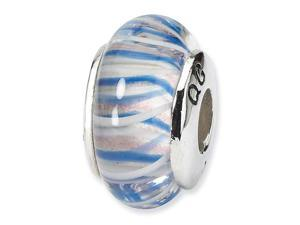 925 Silver Charm Pastel Blue Stripe Jewelry Glass Bead