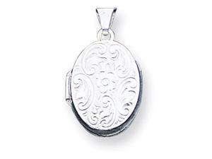 925 Sterling Silver Flower Detailed Oval Locket Pendant