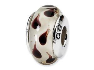 925 Silver Hand Blown Glass White Brown Jewelry Bead