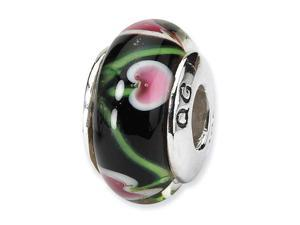 925 Silver Charm Hand Blown Glass Black Floral Bead