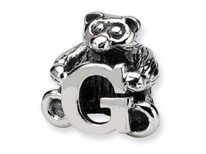 925 Sterling Silver Kids Bear Letter G Alphabet Bead