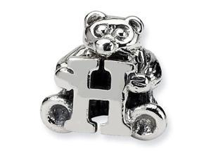 925 Sterling Silver Kids Bear Letter H Alphabet Bead