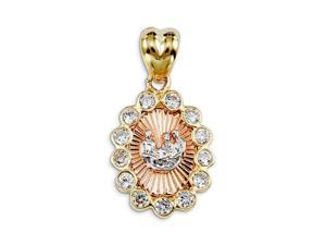 New 14k Yellow White Rose Gold CZ Baptism Round Pendant