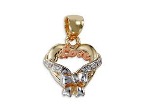 14k White Yellow Rose Gold Love Heart Ribbon Pendant
