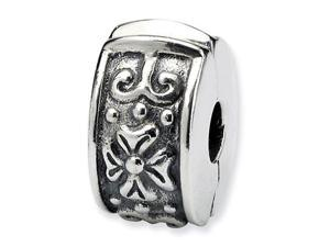 925 Sterling Silver Studded Flowers Hinged Clip Bead