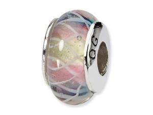 "925 Silver Pink White Purple 1/4"" Hand Blown Glass Bead"
