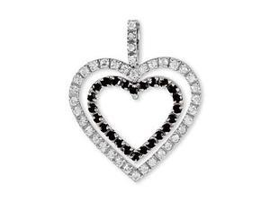 14k White Gold Black White CZ Eternity Hearts Pendant