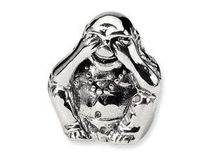 925 Sterling Silver See No Evil Buddha Jewelry Bead