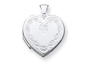 925 Sterling Silver Scroll Heart Photo Locket Pendant