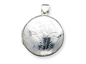 925 Sterling Silver Large Round Detailed Locket Pendant