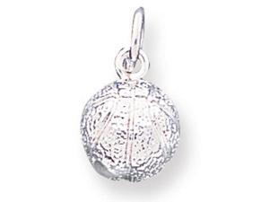 925 Sterling Silver Solid Sports Basketball Ball Charm