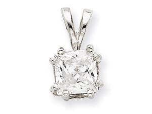 925 Sterling Silver Princess White CZ Slide Pendant