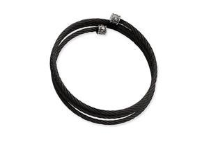 Black Plated Stainless Steel Rope Braided CZ Bracelet