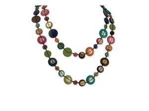 Long Multicolored Hamba Wood Sequin Slip-on Necklace