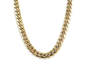 14k Solid Yellow Gold Cuban Curb Chain Necklace 11mm