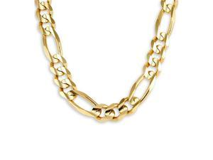 New 14k Yellow Gold Polished Figaro Chain Necklace 15mm