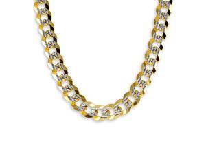 New 14k Two Tone Gold Figaro Chain Link Necklace 9.5mm