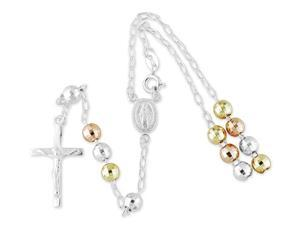 TriColor 925 Silver Jesus Crucifix Mary Rosary Necklace