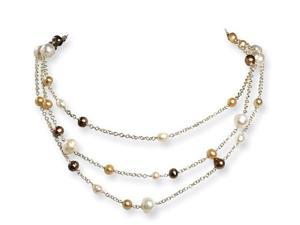 925 Silver White Golden Champagne Pearl Strand Necklace