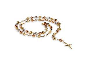 14k Gold White Rose Beads Crucifix Rosary Necklace