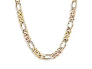 Solid 14k Tri-Color Gold Figaro Chain Necklace 20""