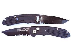 Smith & Wesson SWAT II Extreme Ops Black Tanto Partially Serrated Knife