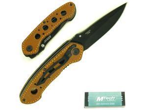 Leather Handle Folding Pocket Knife - 8 inches long
