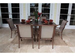 Chub Cay Patio 7 Piece Arm Chair and Slatted Table Set - OEM