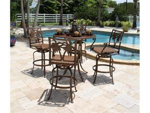 Coco Palm 5 Piece Slatted Pub Table and Swivel Barstools with Arms - OEM