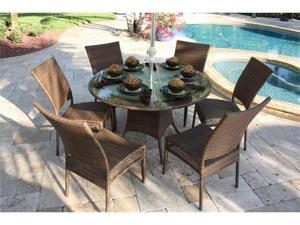 Grenada Patio 7 Piece Round Table and Side Chair Dining Set - OEM