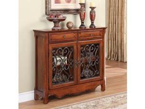 """Light Cherry"" 2-Door, 2-Drawer Scroll Console - OEM"