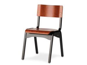 Carlo Black and Orange Stacking Chair - OEM