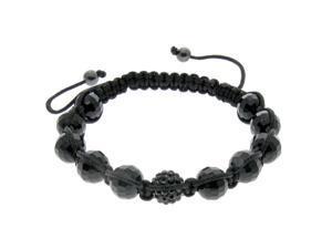 Black Crystal & Black Bead Adjustable Bracelet
