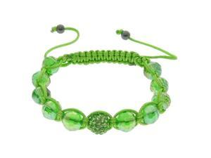 Green Crystal & Green Bead Bracelet on Adjustable Green String