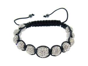 White Crystals on Black String Bracelet