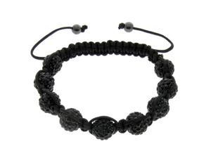 Black Crystals on Black String Bracelet