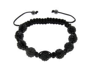 Black Crystals on Black String Bracelet