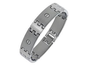 Men's Stainless Steel Bracelet with Screw Accents