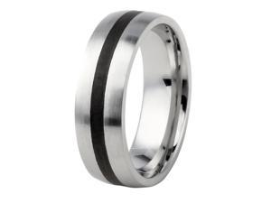 Men's Black Ion Plated Center Stainless Steel Ring