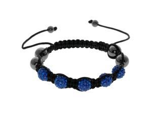Dark Blue Crystals on Black String Adjustable Bracelet