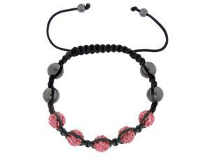 Pink Crystals on Black String Adjustable Bracelet