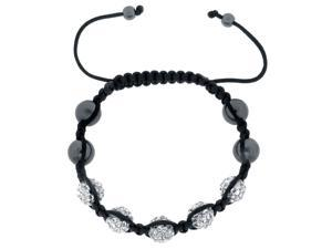 White Crystals on Black String Adjustable Bracelet